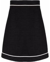 Ferragamo Contrasting Trim A-line Skirt - Black
