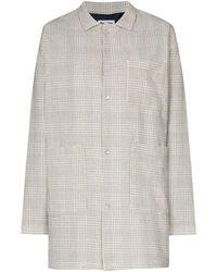 Reception Check-pattern Shirt Jacket - White
