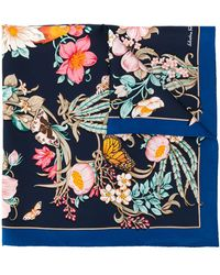 Ferragamo Sjaal Met Bloemenprint - Blauw