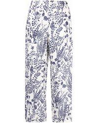 Les Copains Floral-print Cropped Linen Pants - White