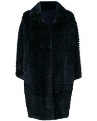 N.Peal Cashmere - Striped Fur Coat - Lyst