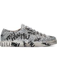 Miu Miu - Silver Logo Graffiti Glitter Leather Sneakers - Lyst
