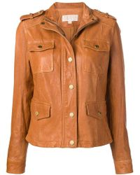 MICHAEL Michael Kors - Buttoned Leather Jacket - Lyst