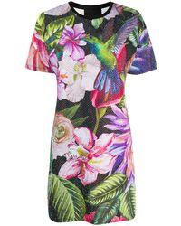 Philipp Plein Платье-футболка С Цветочным Принтом - Черный