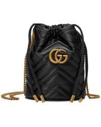 Gucci GG Marmont Bucket Tas - Zwart