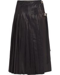 Prada プリーツ レザースカート - ブラック