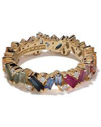 Suzanne Kalan Золотое Кольцо Eternity Rainbow С Бриллиантами И Сапфирами - Металлик