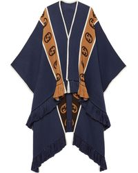 Gucci Wool Poncho With Interlocking G Stripe - Blue