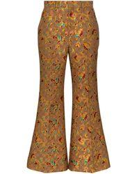 Gucci フローラル フレアパンツ - ブラウン