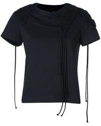 Vera Wang Camiseta con bordado de cuerdas - Negro