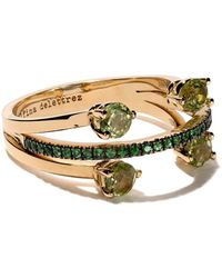 Delfina Delettrez 18kt Yellow Gold, Peridot And Tsavorite Linked Dots Ring - Metallic