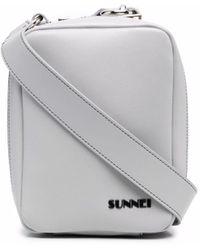 Sunnei Sac porté épaule zippé à logo - Gris