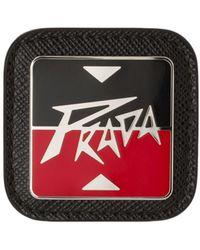 Prada Logo Plaque Brooch - Black