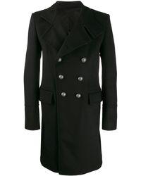 Balmain Manteau mi-long à boutonnière croisée - Noir