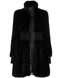Karl Lagerfeld Приталенная Шуба Из Искусственного Меха - Черный