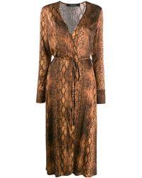 ANDAMANE Beverly スネークスキンプリント ドレス - ブラウン