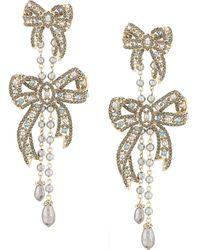 Marchesa Nightingale Bow Drop Earrings - Metallic
