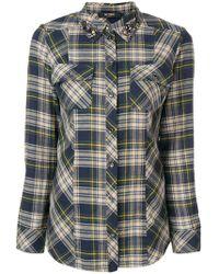 Twin Set - Embellished Collar Plaid Shirt - Lyst