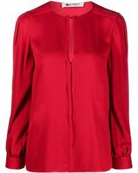 Ports 1961 Slit-detail Silk Blouse - Red