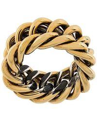 Ugo Cacciatori Chain Detail Ring - Metallic