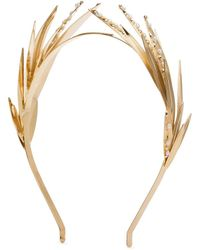 Rosantica Apache Leaf Pearl Embellished Headband - Metallic