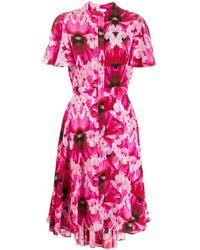 Alexander McQueen Чайное Платье С Цветочным Принтом - Розовый