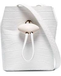 Rejina Pyo White Camila Croc-embossed Leather Cross Body Bag