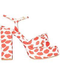 Saint Laurent Lips Print Bianca 85mm Platform Sandals - Red