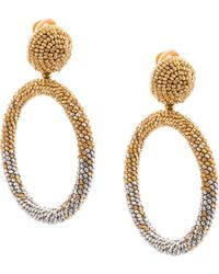 Oscar de la Renta Beaded Drop Hoop Earrings - Metallic