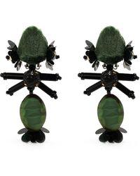 Biyan Pendientes con colgante y aplique de gema - Verde