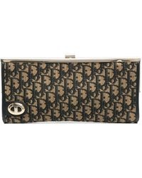 Dior Pre-owned Trotter Pattern Clutch - Blue