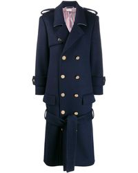 Thom Browne Tied Front Midi Coat - Blue