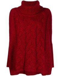 N.Peal Cashmere Cashmere Chunky Cable Knit Jumper - Red