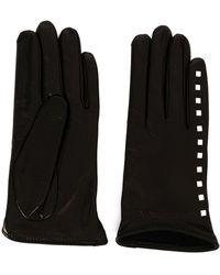 Emporio Armani Faux Leather Gloves With Stud Detail - Black