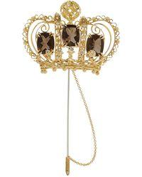 Dolce & Gabbana ダイヤモンド クラウンブローチ 18kイエローゴールド - メタリック