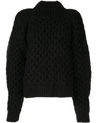 Partow Grob gestrickter Pullover - Schwarz