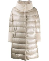 Herno Faux-fur Collar Padded Coat - Natural