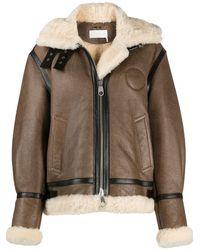 Chloé Shearling-trim Hooded Coat - Brown