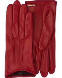 Miu Miu Logo Plaque Gloves - Red