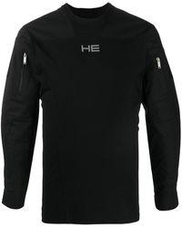 HELIOT EMIL シェルパネル スウェットシャツ - ブラック