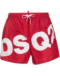 DSquared² Badeshorts mit Logo-Print - Rot
