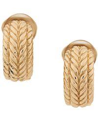 Dior 1970's Pre-owned Embossed Demi-hoop Clip-on Earrings - Metallic
