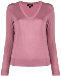 Theory Wool V-neck Jumper - Pink