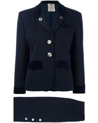 Hermès プレオウンド コントラストボタン スカートスーツ - ブルー