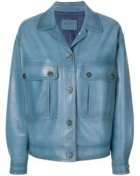 Prada Avio Leather Jacket - Blue