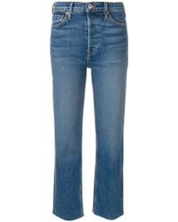 RE/DONE - Frayed Hem Cropped Jeans - Lyst