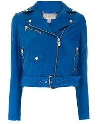 MICHAEL Michael Kors Leather Moto Jacket - ブルー