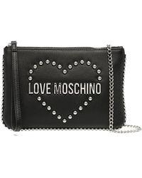 Love Moschino ロゴスタッズ クラッチバッグ - ブラック