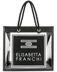 Elisabetta Franchi ロゴ ハンドバッグ - ブラック