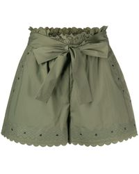 Twin Set Embroidered Tie-waist Shorts - Green